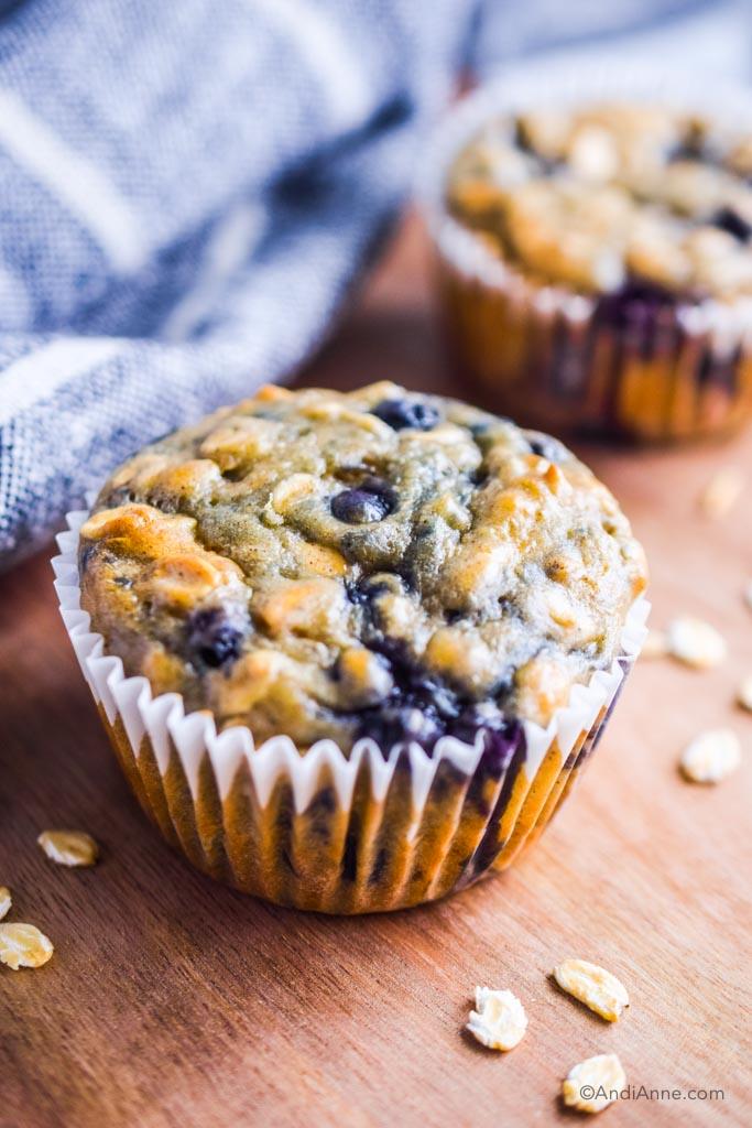 close up of blueberry yogurt oat muffin