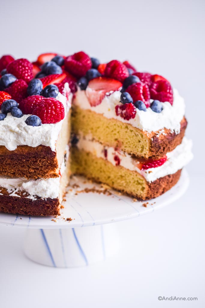 Slice cut out of gluten free cake. Fresh berries on top with whipped cream, on white cake stand.
