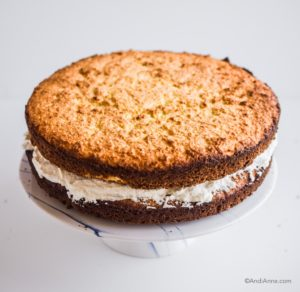 two layers of cake, whipping cream in the middle