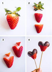 steps to create a strawberry heart. Slice off the green top. Sliced strawberry in half. Slice out small triangle top from each strawberry. Dip the strawberries in chocolate