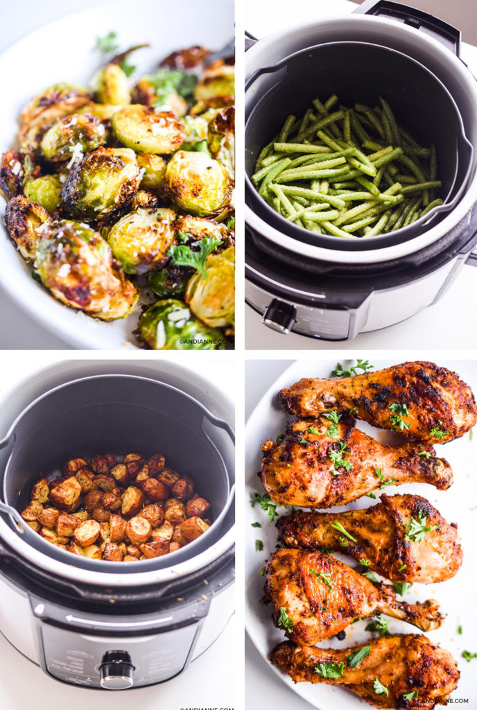 air fryer recipes including brussels sprouts in a white bowl, green beans in an air fryer, crispy potatoes in an air fryer and chicken drumsticks on a white plate.