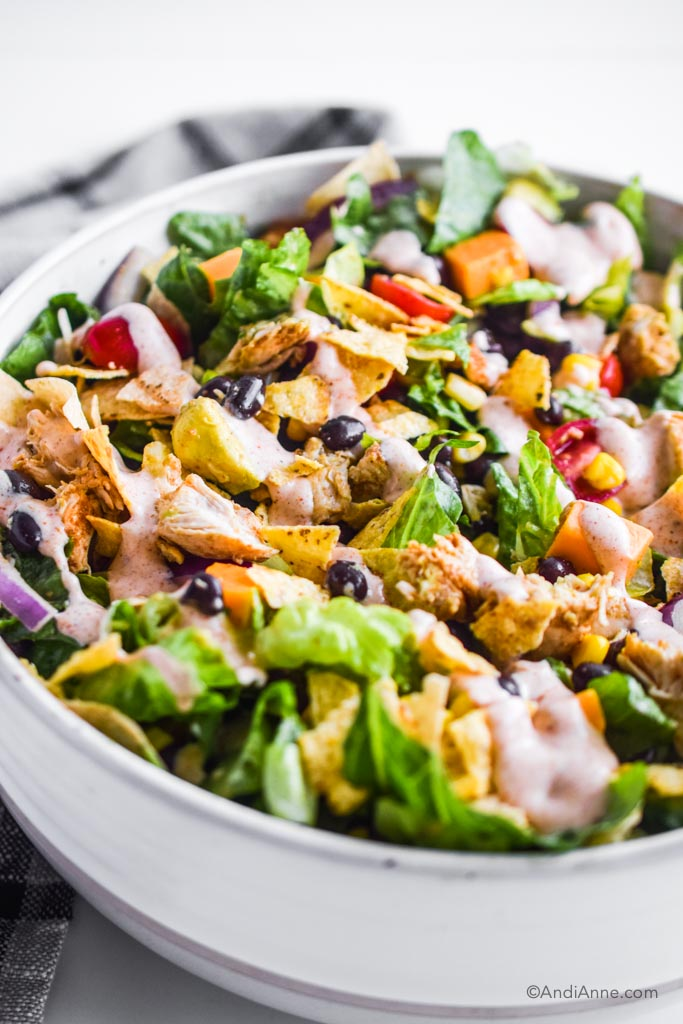 ranch taco chicken salad in a white bowl close up
