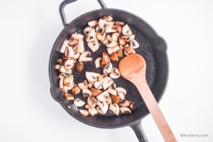 cooked mushrooms in a frying pan
