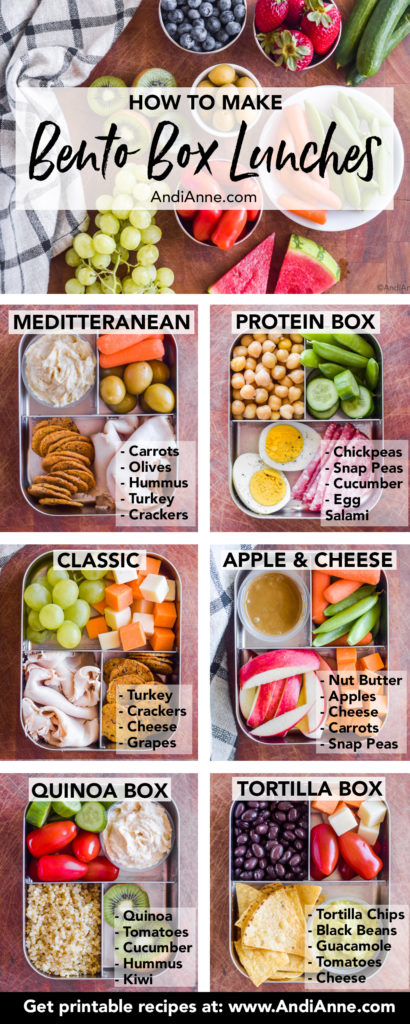 all six bento box lunch inspirations in a pinterest pin with labels describing each ingredient.