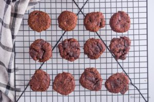 chocolate avocado cookies cooling on a rack