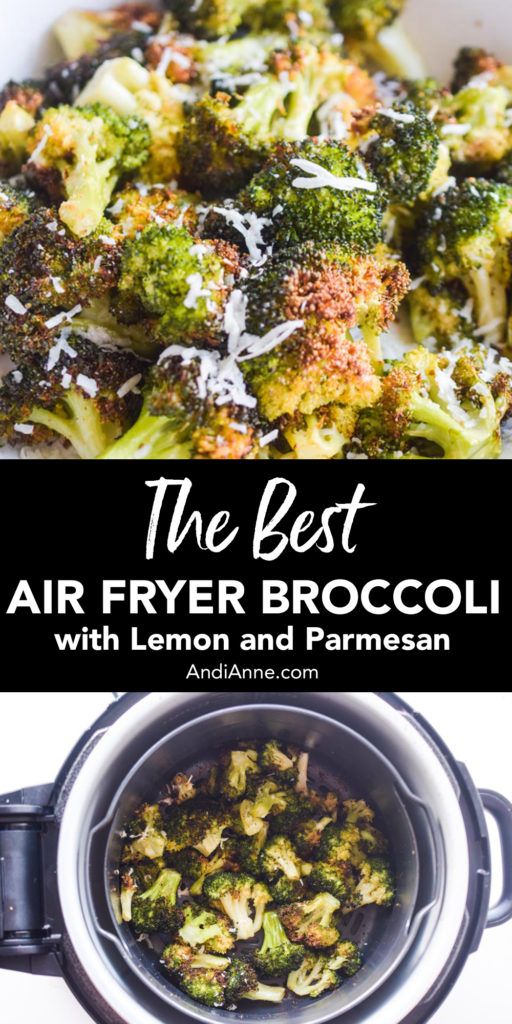 Air fryer broccoli is easy and full of flavor. This recipe uses freshly squeezed lemon and parmesan cheese to create a simple healthy side dish for any meal.