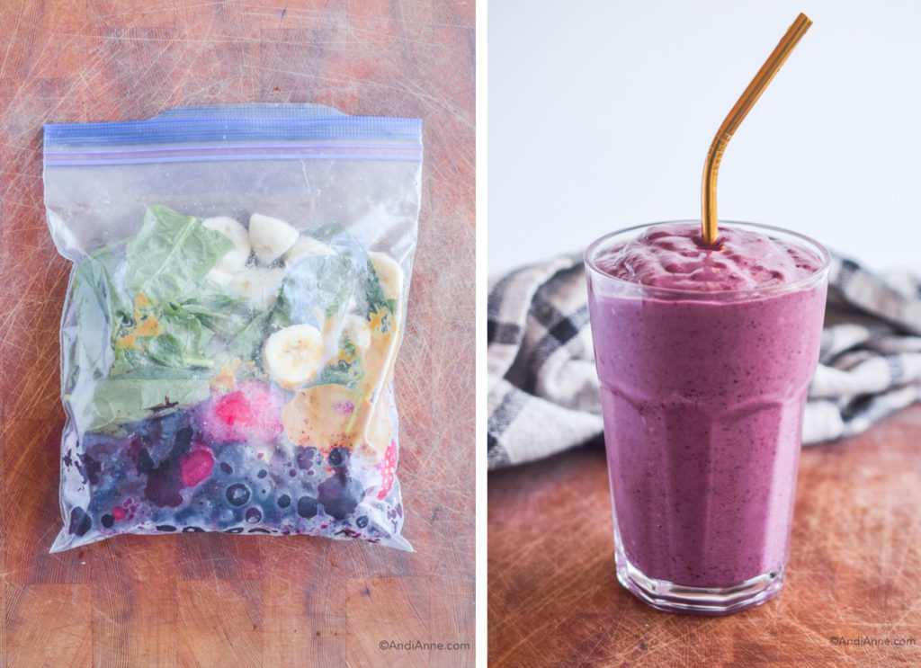 before and after of berry blitz smoothie pack in freezer bag and finished smoothie in a glass with metal straw.