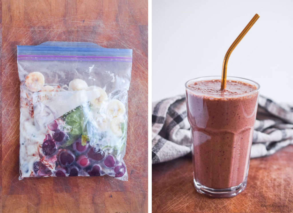 before and after of chocolate cherry smoothie pack in freezer bag and finished smoothie in a glass with metal straw.