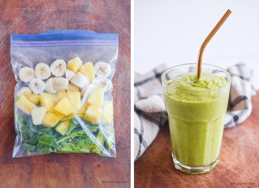 before and after of tropical green smoothie pack in freezer bag and finished smoothie in a glass with metal straw.