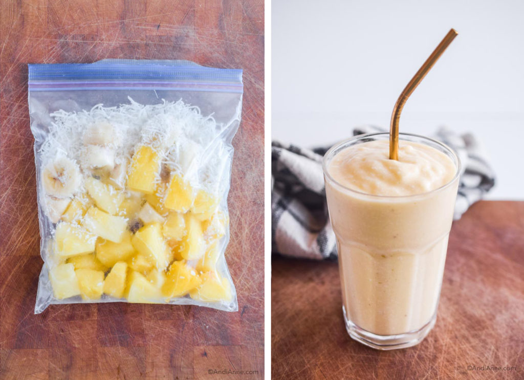 before and after of pina colada smoothie pack in freezer bag and finished smoothie in a glass with metal straw.