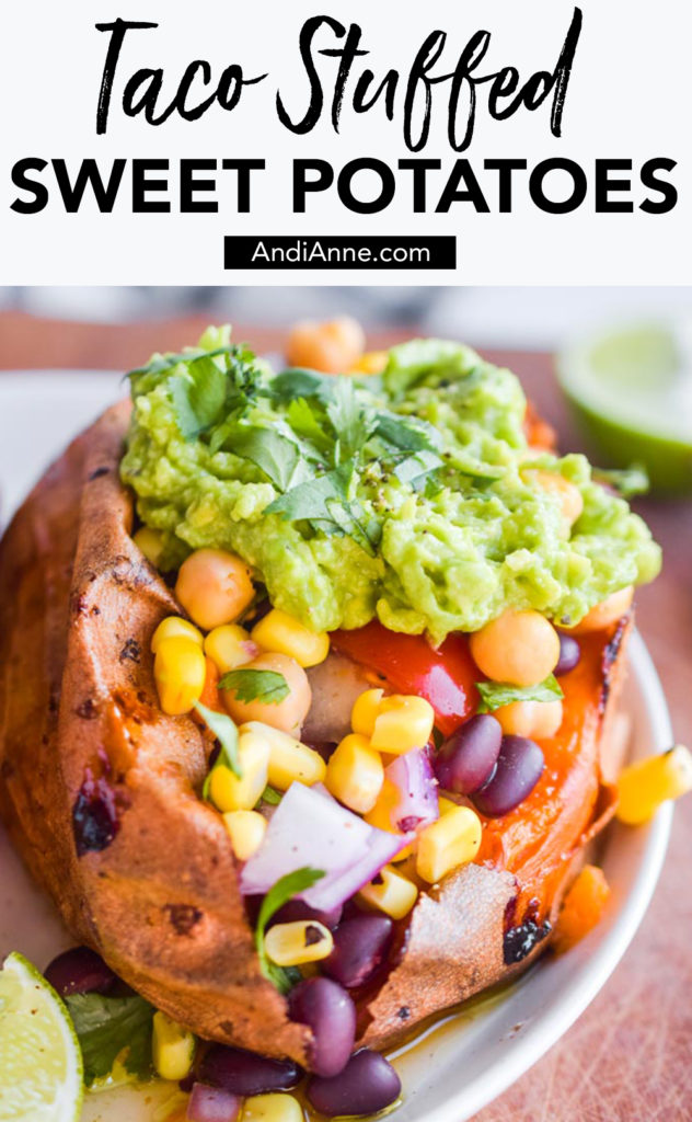 Taco stuffed sweet potatoes are a delicious and easy plant-based side dish that you can pair with any meal. These are simple to make and loaded with vitamins and minerals from a rainbow of vegetables.