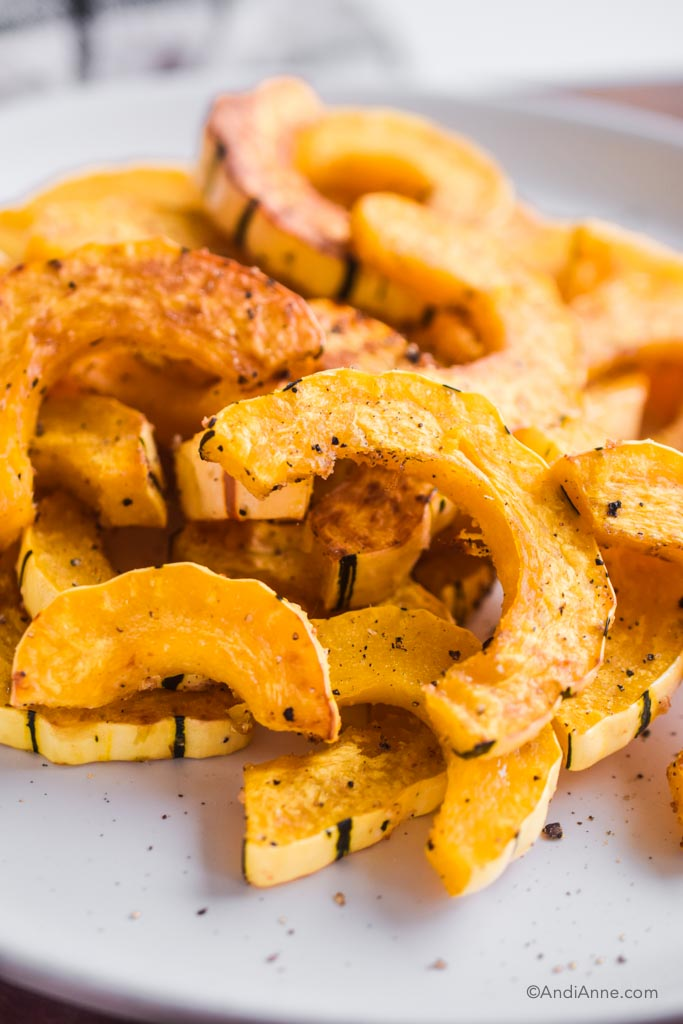 close up of sliced roasted delicata squash on a white plate