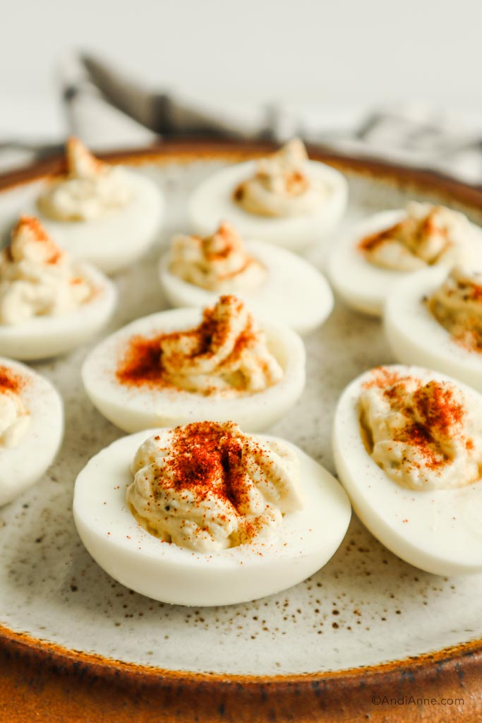 side angle of deviled eggs on a plate