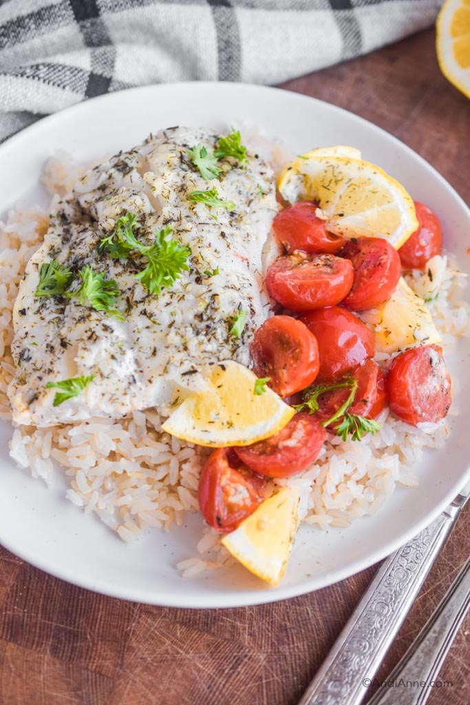 Close up of cod, tomatoes, lemon on top of rice on a white plate.