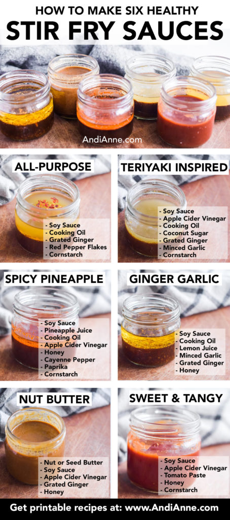 These stir fry sauce recipes are a simple way to add incredible flavor to your vegetables, grains and meats. Made with fresh ingredients, these six healthy stir fry sauce recipes will add amazing flavor without overpowering your dish. This blog post includes six stir fry sauce recipes: all-purpose, teriyaki inspired, spicy pineapple, ginger garlic, nut butter or seed butter, plus sweet and tangy sauce.