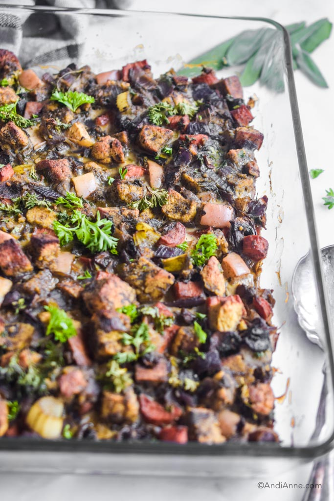 Side angle of keto stuffing in the glass casserole dish
