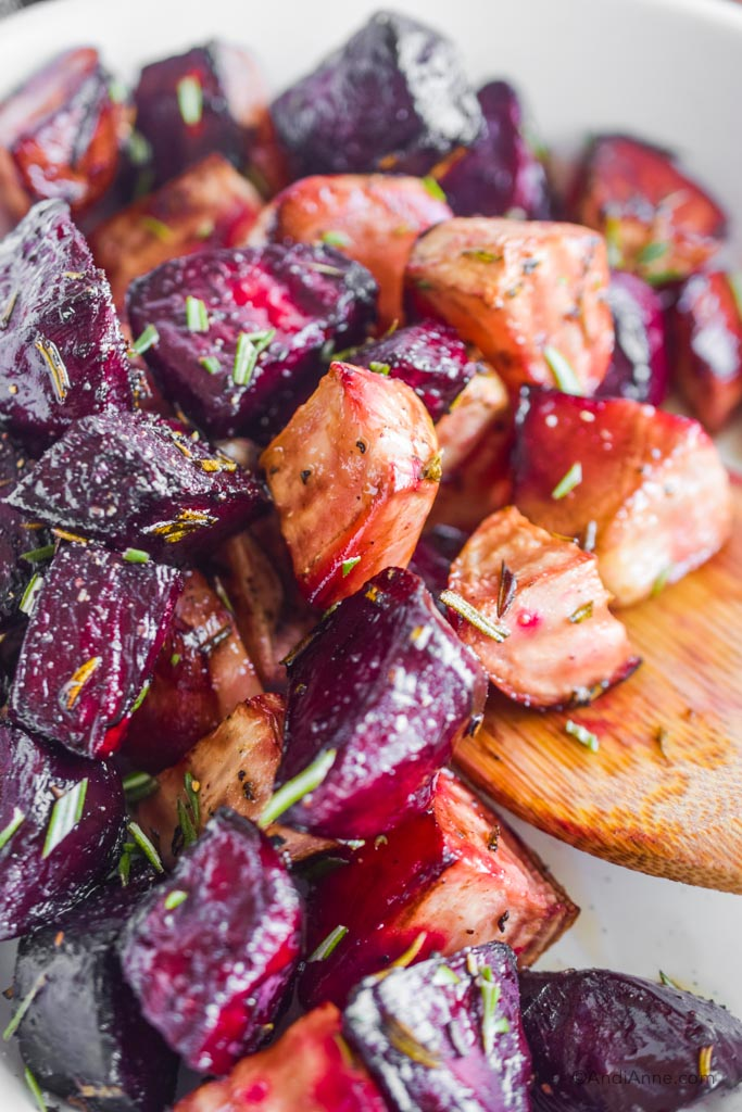 close up of roasted balsamic rosemary beets