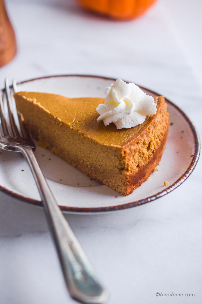 Close up of sugar free pumpkin cheesecake on a white plate with a fork